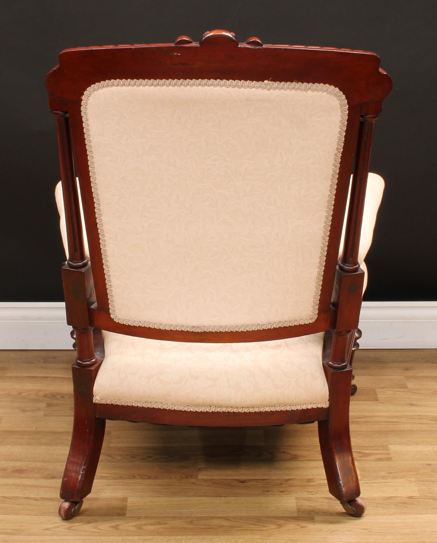 A Victorian mahogany drawing room armchair, 95.5cm high, 68cm wide, the seat 41cm wide and 63cm - Image 4 of 4