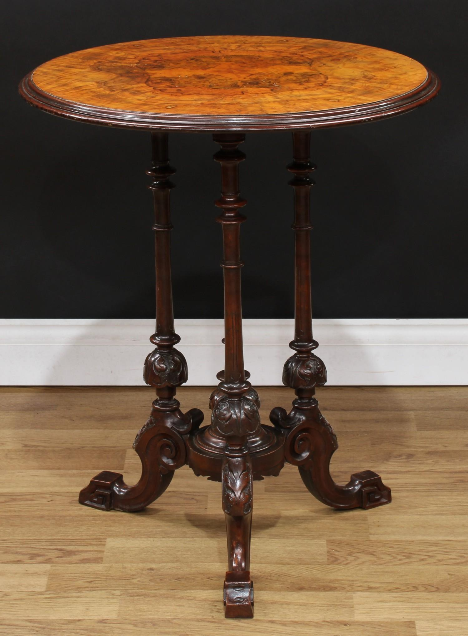 A Victorian walnut and mahogany wine table, quarter-veneered circular top with moulded edge, - Image 3 of 3