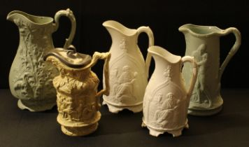 A mid 19th century Charles Meigh relief moulded jug, Bacchanalian scene, hinged pewter cover,