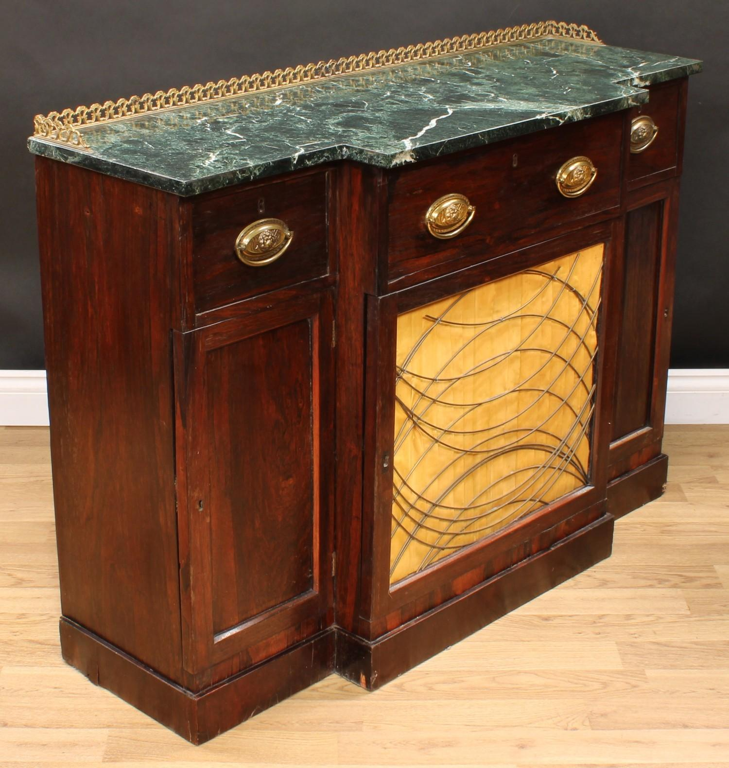 A 'Regency' rosewood break-centre secretaire side cabinet, verde antico marble top with three- - Image 5 of 7
