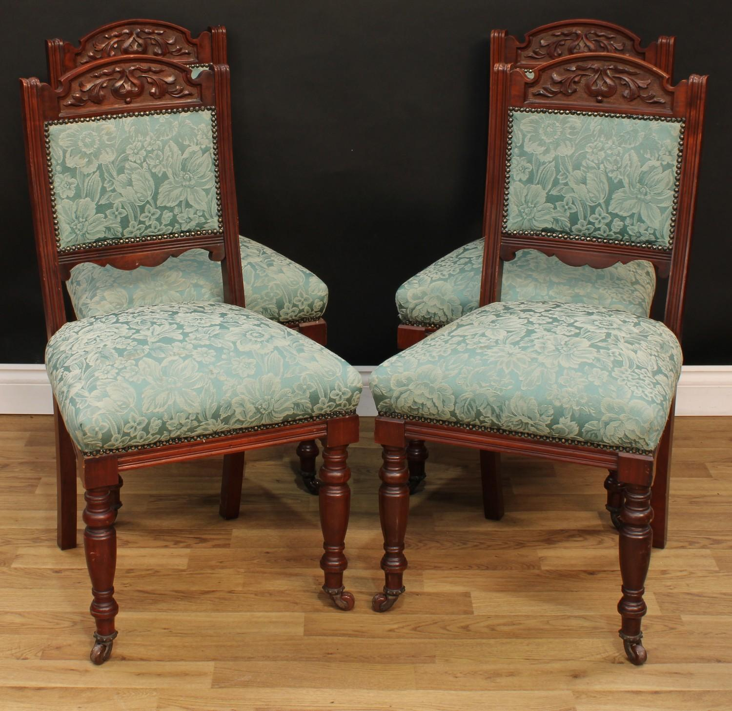 A late Victorian Eastlake design seven piece drawing room suite, comprising chaise longue, 77cm - Image 7 of 9