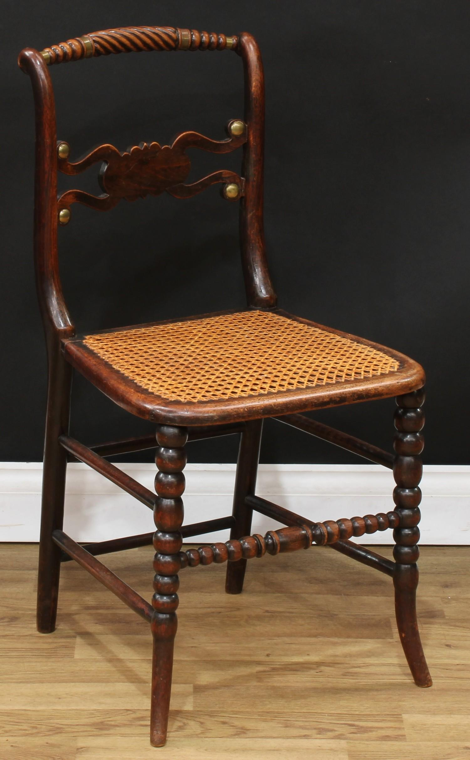A set of four Regency brass mounted mahogany side chairs, each with a bobbin-flanked rope twist - Image 2 of 4