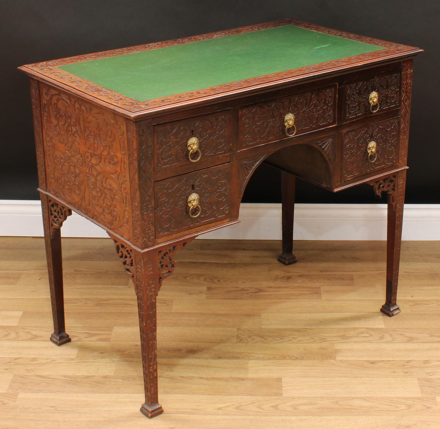 A Chinese Chippendale Revival room centre writing table, rectangular top with inset writing surface, - Image 2 of 4