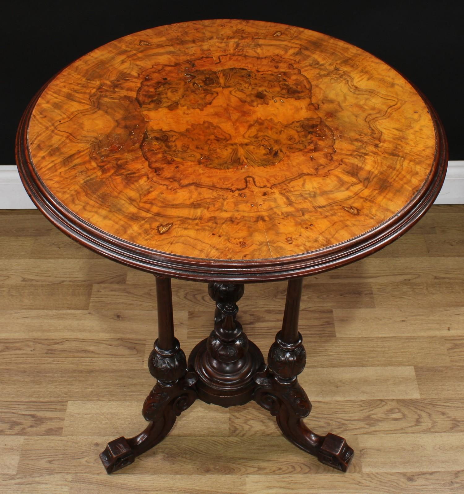 A Victorian walnut and mahogany wine table, quarter-veneered circular top with moulded edge, - Image 2 of 3