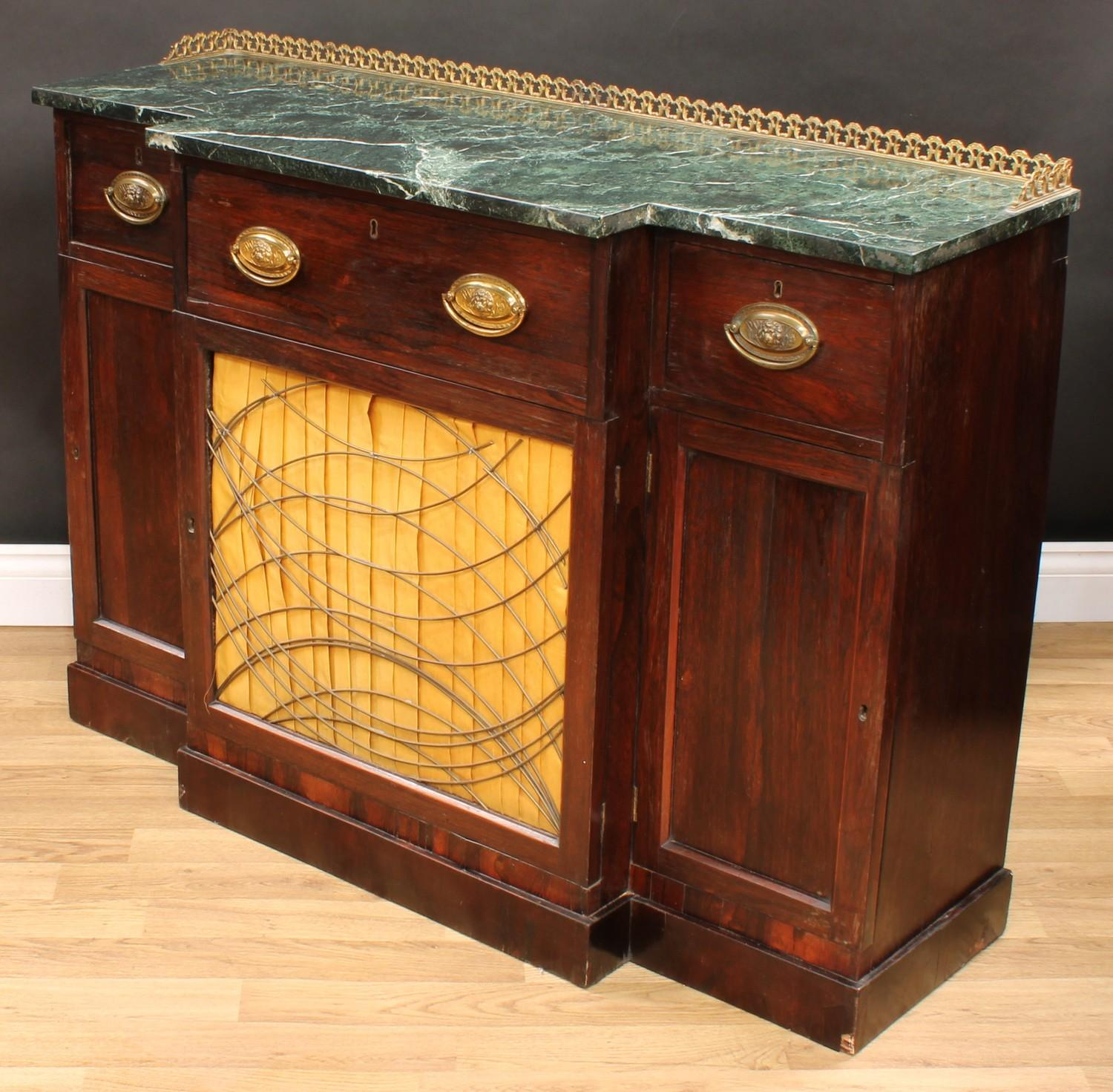 A 'Regency' rosewood break-centre secretaire side cabinet, verde antico marble top with three- - Image 6 of 7