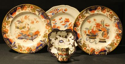 A pair of Royal Crown Derby 2937 Imari pattern plates, 27cm; a Sampson Hancock Imari pattern