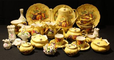 An Aynsley Orchard Gold pattern coffee pot, sucrier and cover, cream jug, pair of coffee cans and
