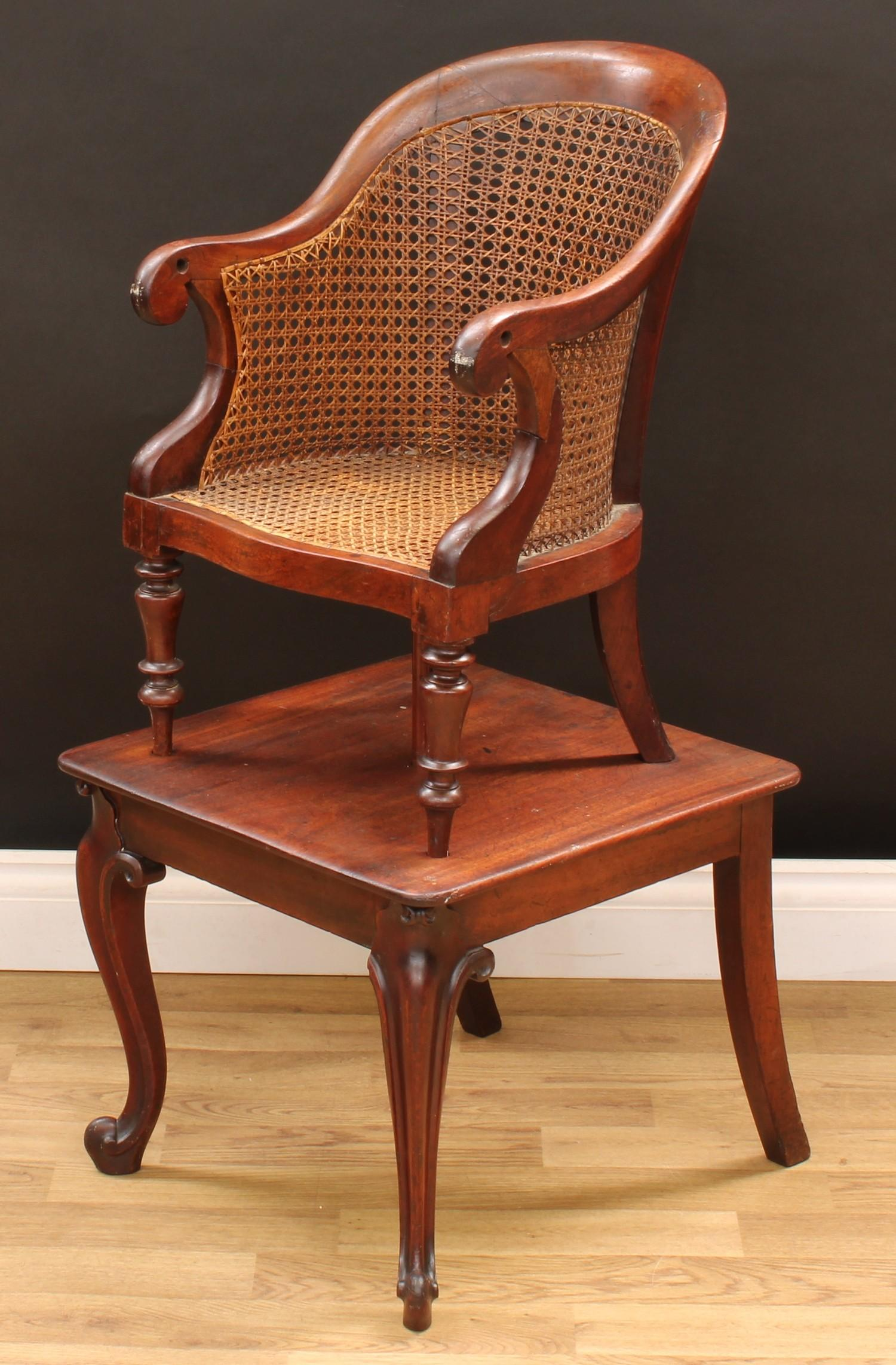 A Victorian mahogany child's combination high chair and table, curved back terminating in scroll - Image 3 of 4