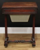A William IV mahogany work table, rectangular top above a frieze drawer and a sarcophagus shaped