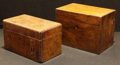 A Victorian Tunbridge ware tea caddy; another, mahogany (2)