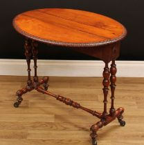 A Victorian walnut Sutherland table, oval top with fall leaves and lotus carved edge, above a pair