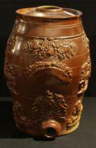 A 19th century brown salt glazed stoneware spirit barrel, applied in relief with Royal Crest,