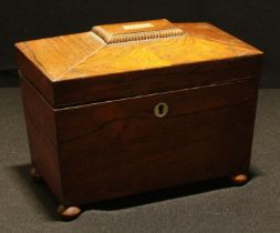 A 19th century rosewood sarcophagus tea caddy, c.1840, 19cm wide