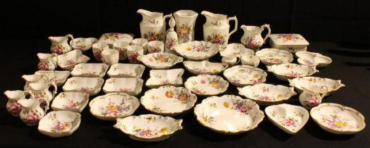 A Royal Crown Derby Posie pattern hexagonal vase, candle snuffer, six eggcups, miniature milk jug
