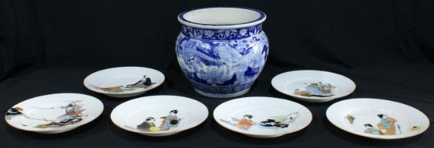 A 19th century blue and white Oriental jardiniere; six mid-20th century Oriental plates (7)