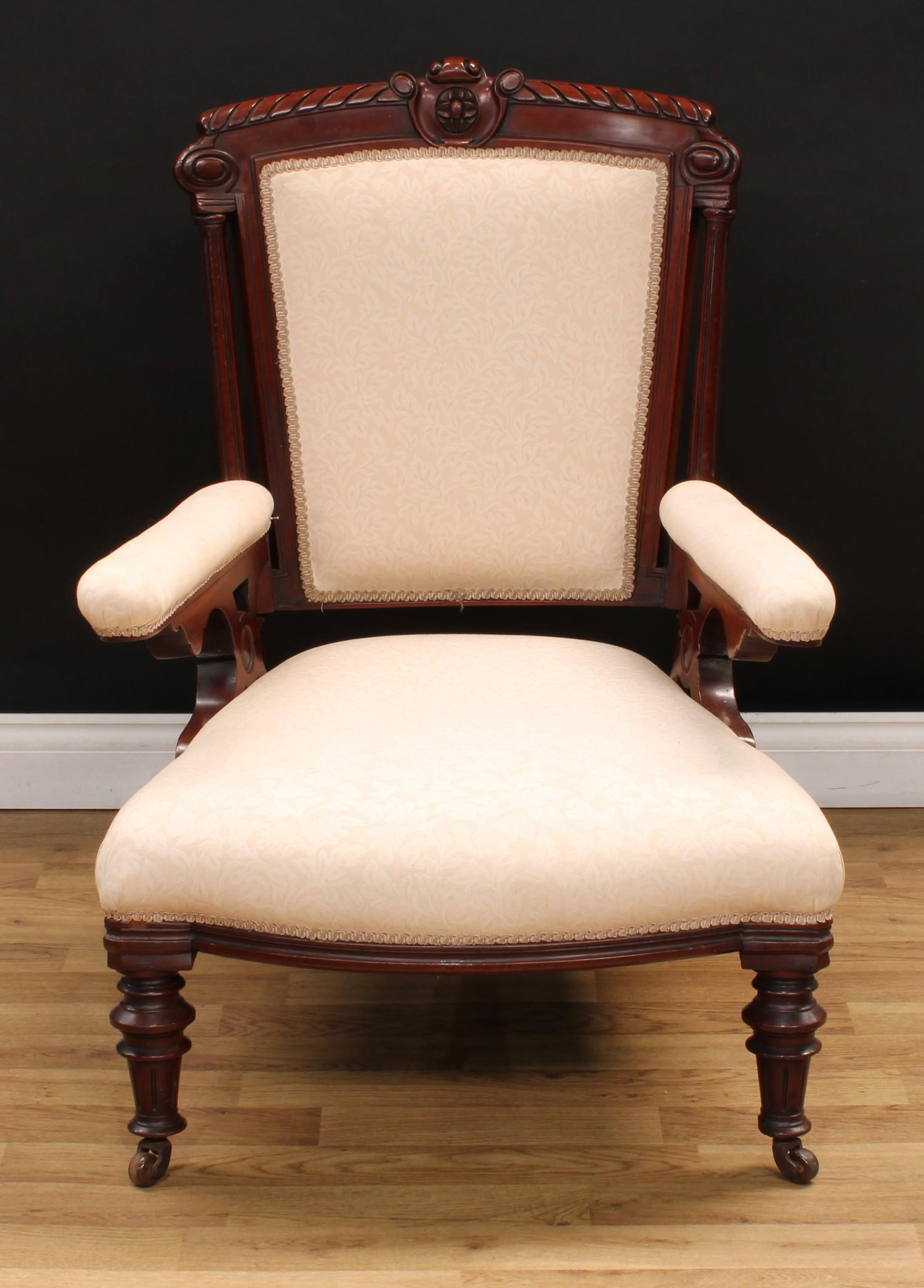 A Victorian mahogany drawing room armchair, 95.5cm high, 68cm wide, the seat 41cm wide and 63cm - Image 2 of 4