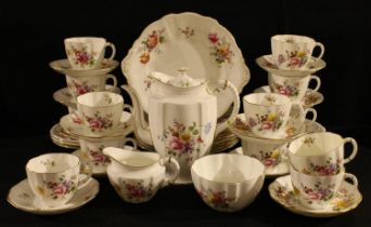 A Royal Crown Derby Posie pattern composed tea set, comprising coffee pot, milk jug, sugar bowl,