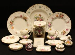 Royal Crown Derby Posies including jugs, trinket dishes, plate, etc; another Forget Me Not plate;