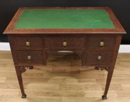 A Chinese Chippendale Revival room centre writing table, rectangular top with inset writing surface,