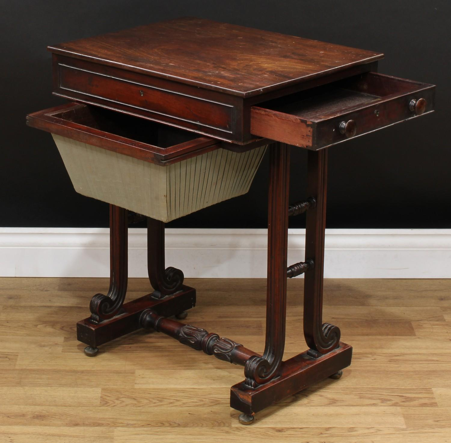 A William IV mahogany work table, rectangular top above a frieze drawer and a sarcophagus shaped - Image 6 of 7