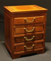 A Chinese hardwood table top chest, rectangular panelled top above four drawers, brass handles, 33.