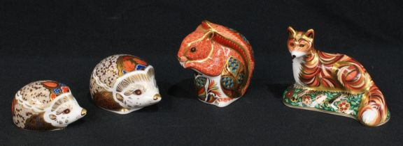 A Royal Crown Derby paperweight, Hawthorn Hedgehog, gold stopper; others, Bramble Baby Hedgehog,