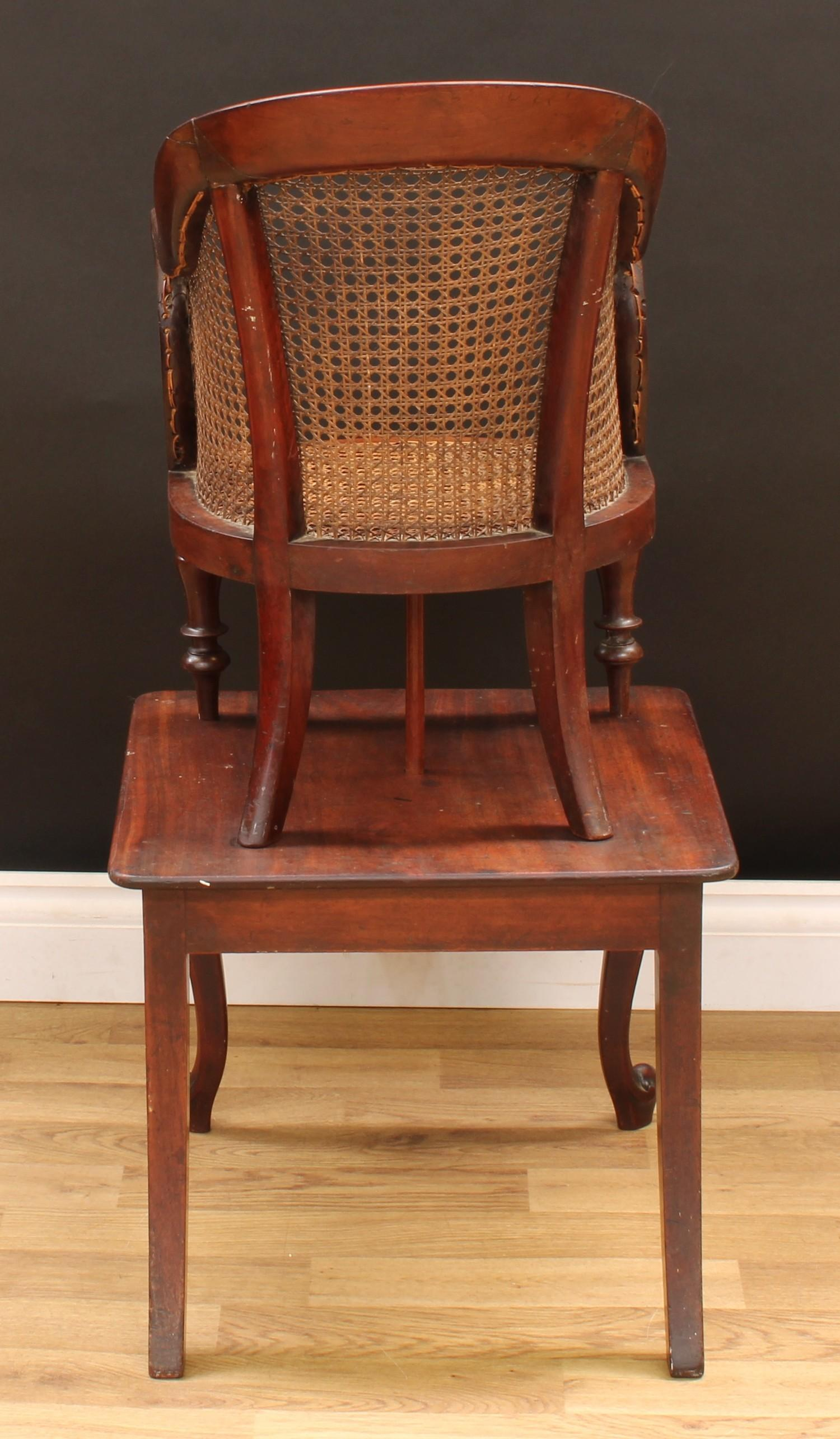 A Victorian mahogany child's combination high chair and table, curved back terminating in scroll - Image 4 of 4