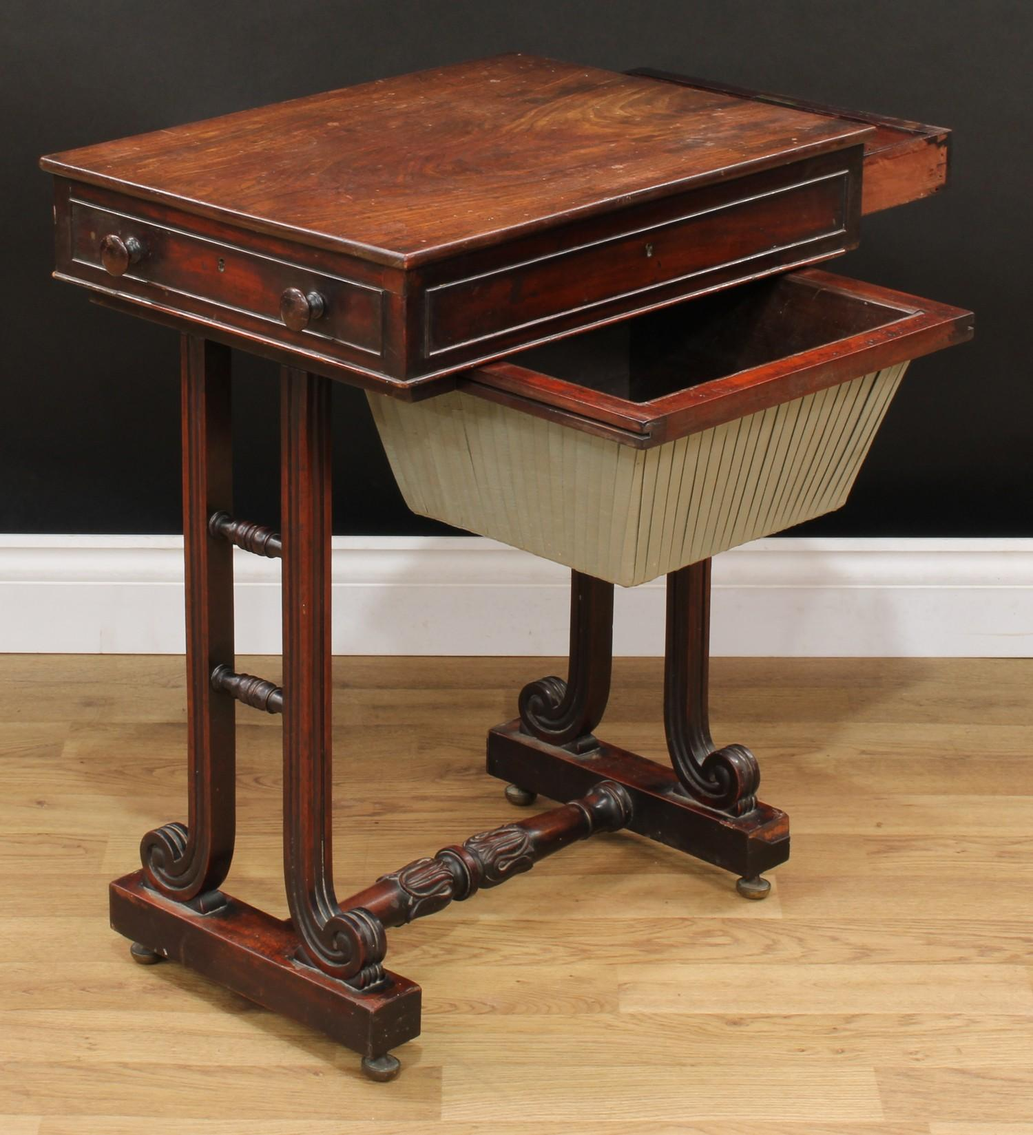 A William IV mahogany work table, rectangular top above a frieze drawer and a sarcophagus shaped - Image 4 of 7