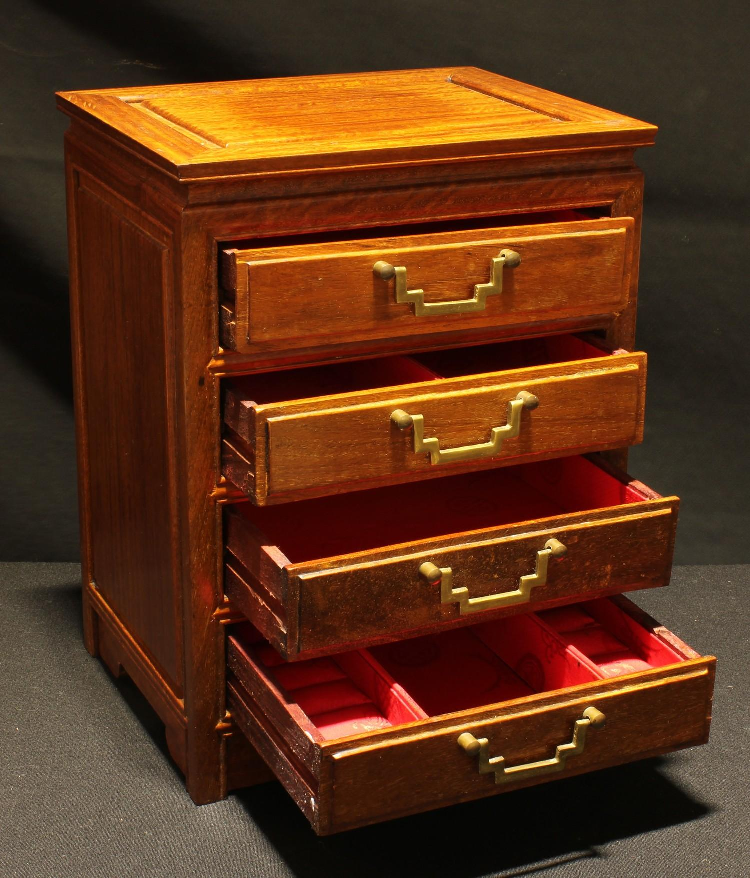 A Chinese hardwood table top chest, rectangular panelled top above four drawers, brass handles, 33. - Image 2 of 2