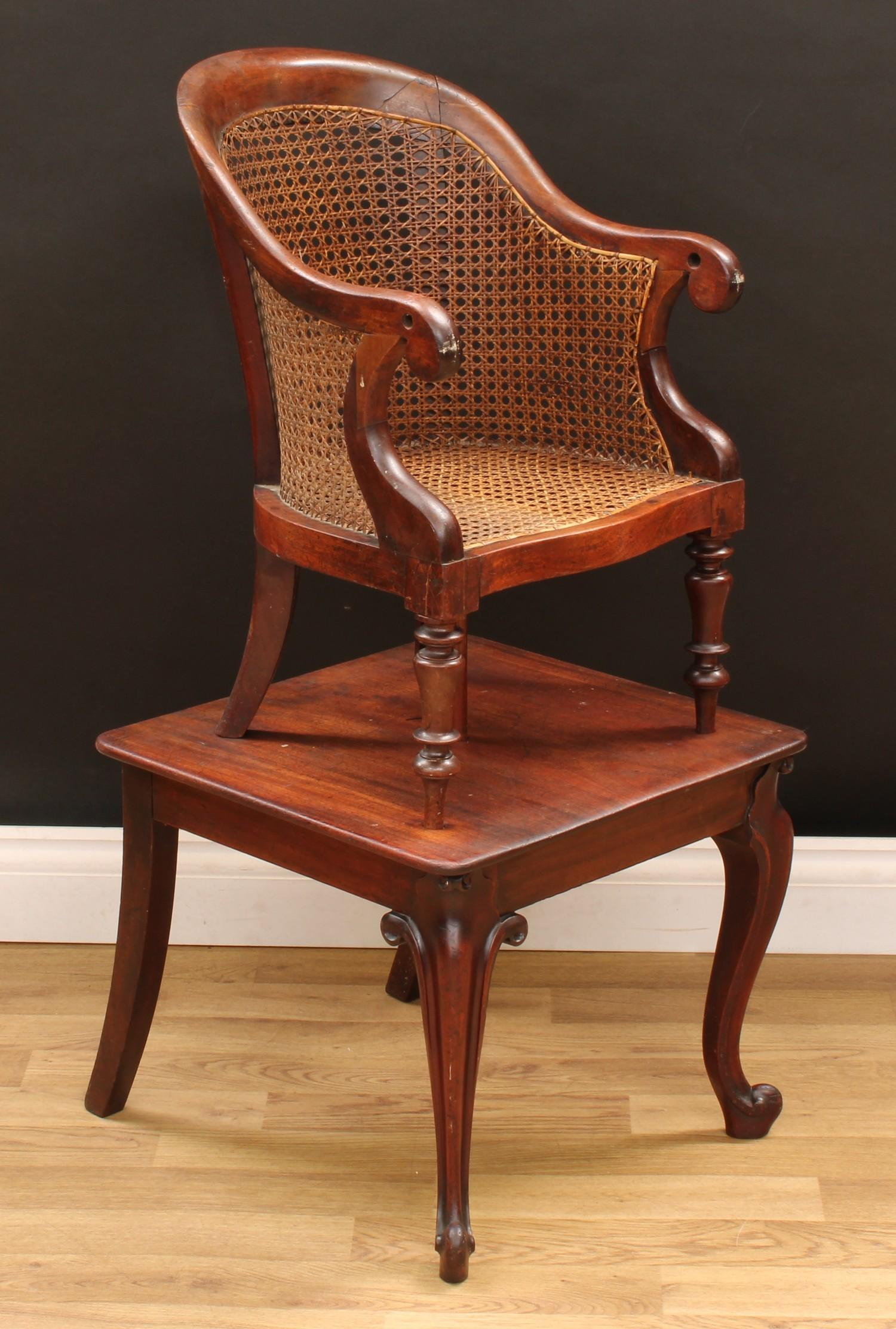 A Victorian mahogany child's combination high chair and table, curved back terminating in scroll - Image 2 of 4