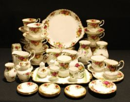 A Royal Albert Old Country Roses pattern tea set, a breakfast set with novelty egg shaped salt and