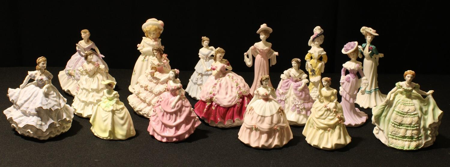 A Royal Worcester miniature figure, Lady Sophie, 12cm; others, Lady Emma, Lady Louisa, Lady