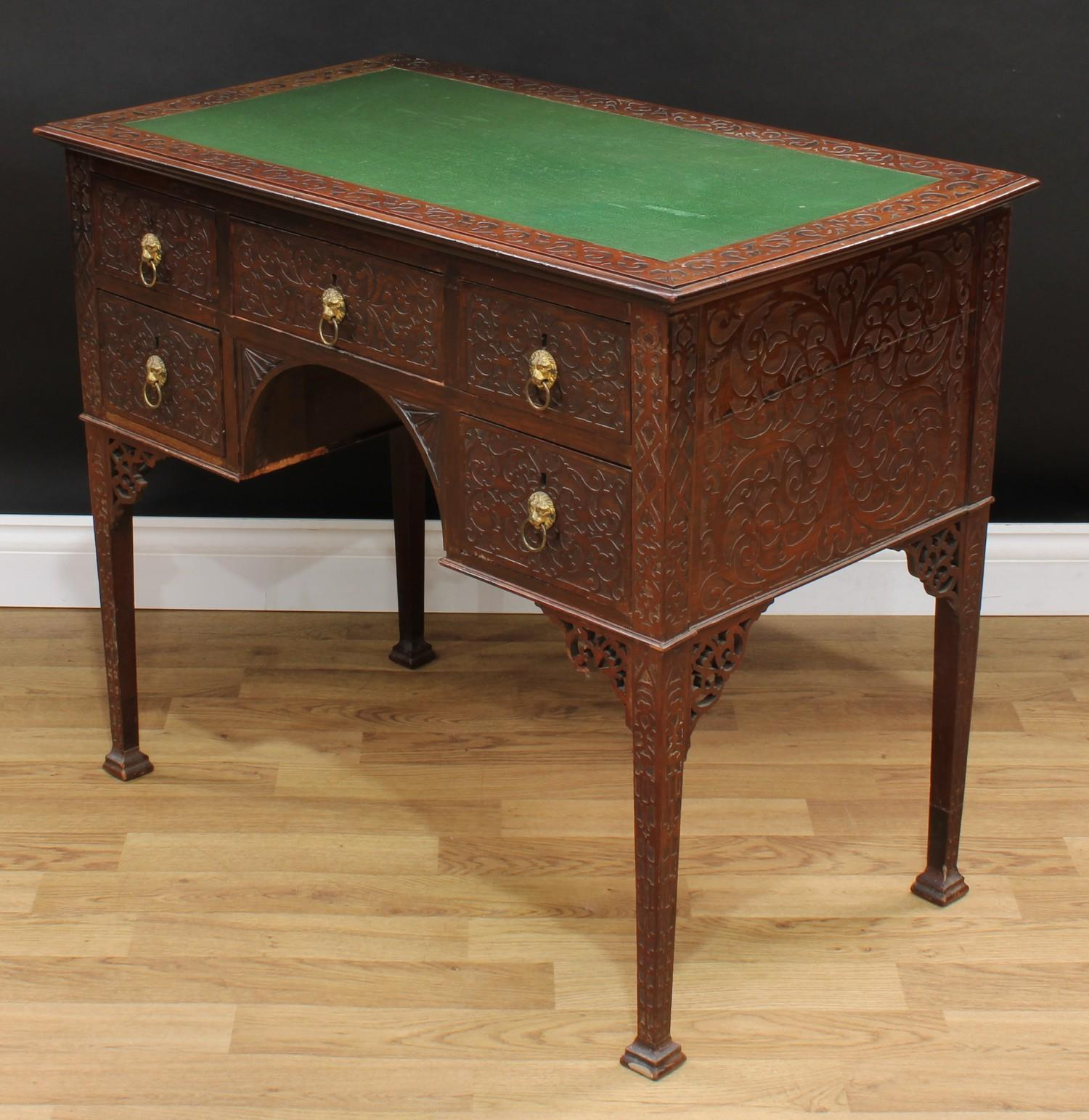 A Chinese Chippendale Revival room centre writing table, rectangular top with inset writing surface, - Image 4 of 4