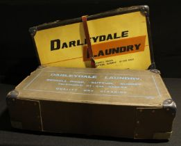 Advertising - a mid 20th century laundry shipping box, Darleydale Laundry, 59cm long; another
