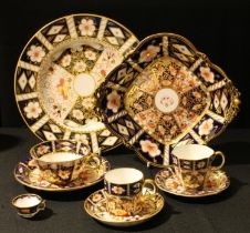 Royal Crown Derby 2451 pattern including tea cup and saucer, coffee can and saucer, miniature tea