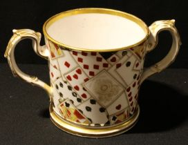 Advertising Interest - a 19th century loving cup, decorated with a deck of Goodall playing cards,
