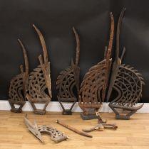 Tribal Art - a collection of tall Bamana chi wara antelope headdresses, various sizes, many