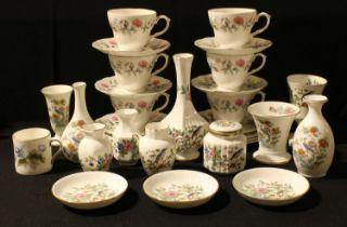 A Duchess Bramble Rose pattern part tea service; Aynsley Pembroke pattern vases; Wedgwood; etc