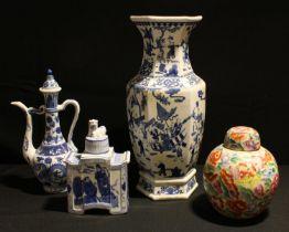 Chinese Ceramics - 20th century panelled vase; Famille Rose ginger jar; etc (4)