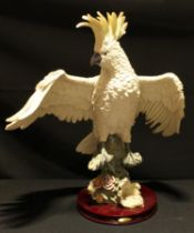 A large resin model of a cockatoo, The Juliana Collection, circular wooden base, 55cm