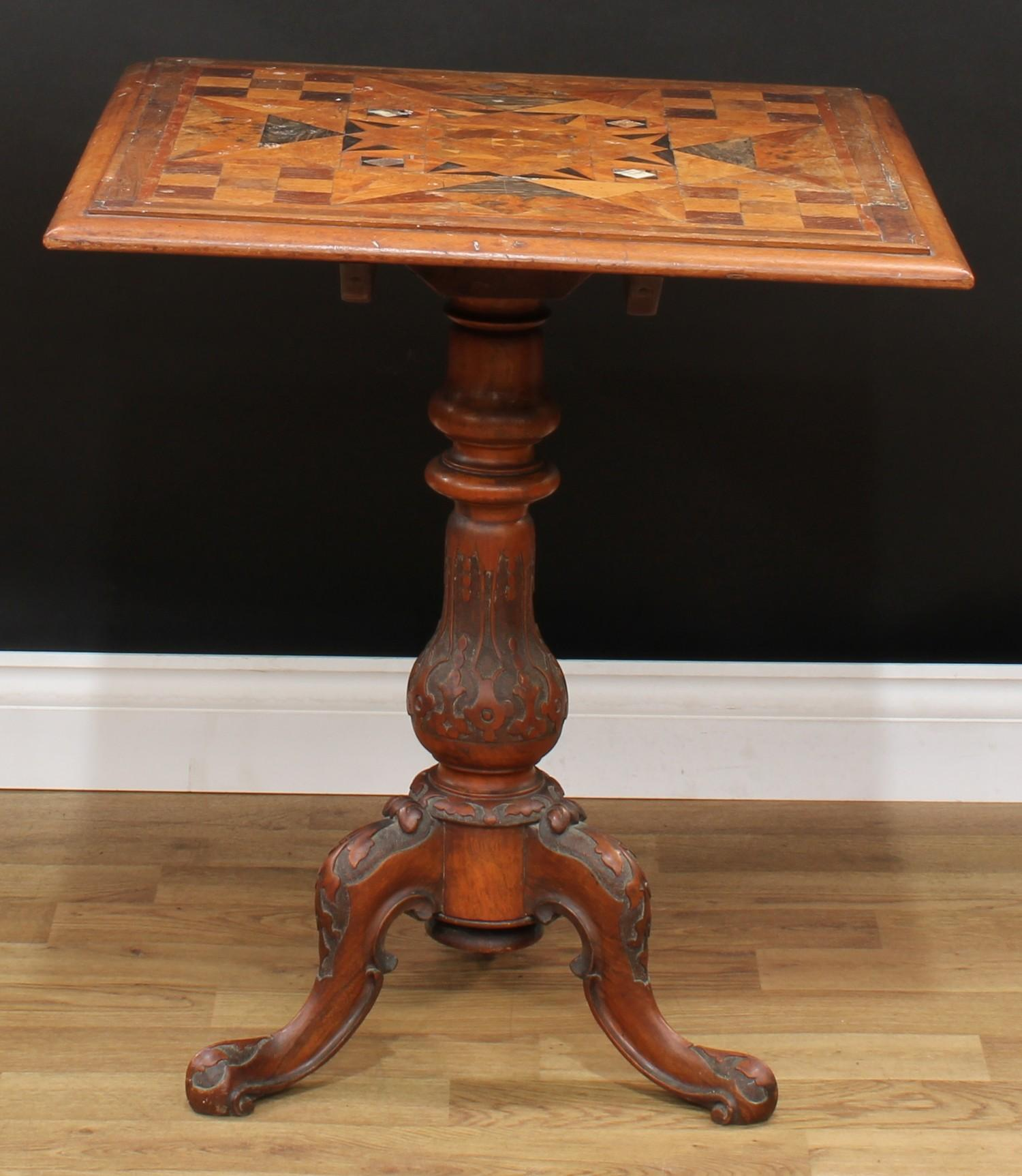 A Victorian parquetry occasional table, near-square top with moulded edge inlaid with geometric - Image 3 of 3