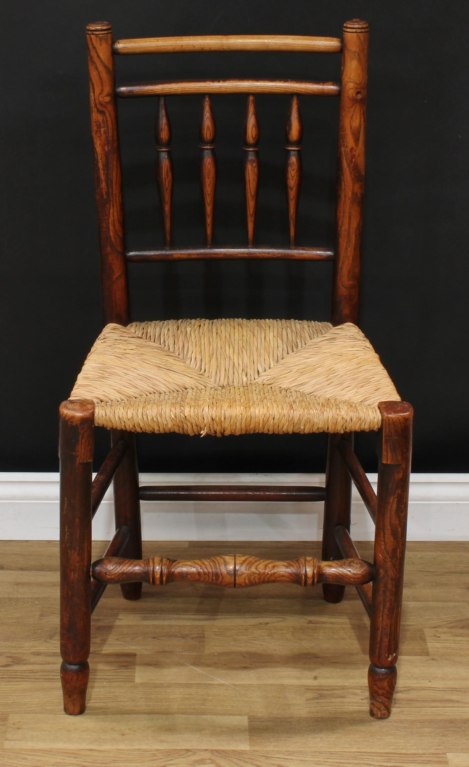 A late Victorian smoker's bow elbow chair, 80cm high, 65cm wide, the seat 38cm wide and 37cm deep; - Image 6 of 7