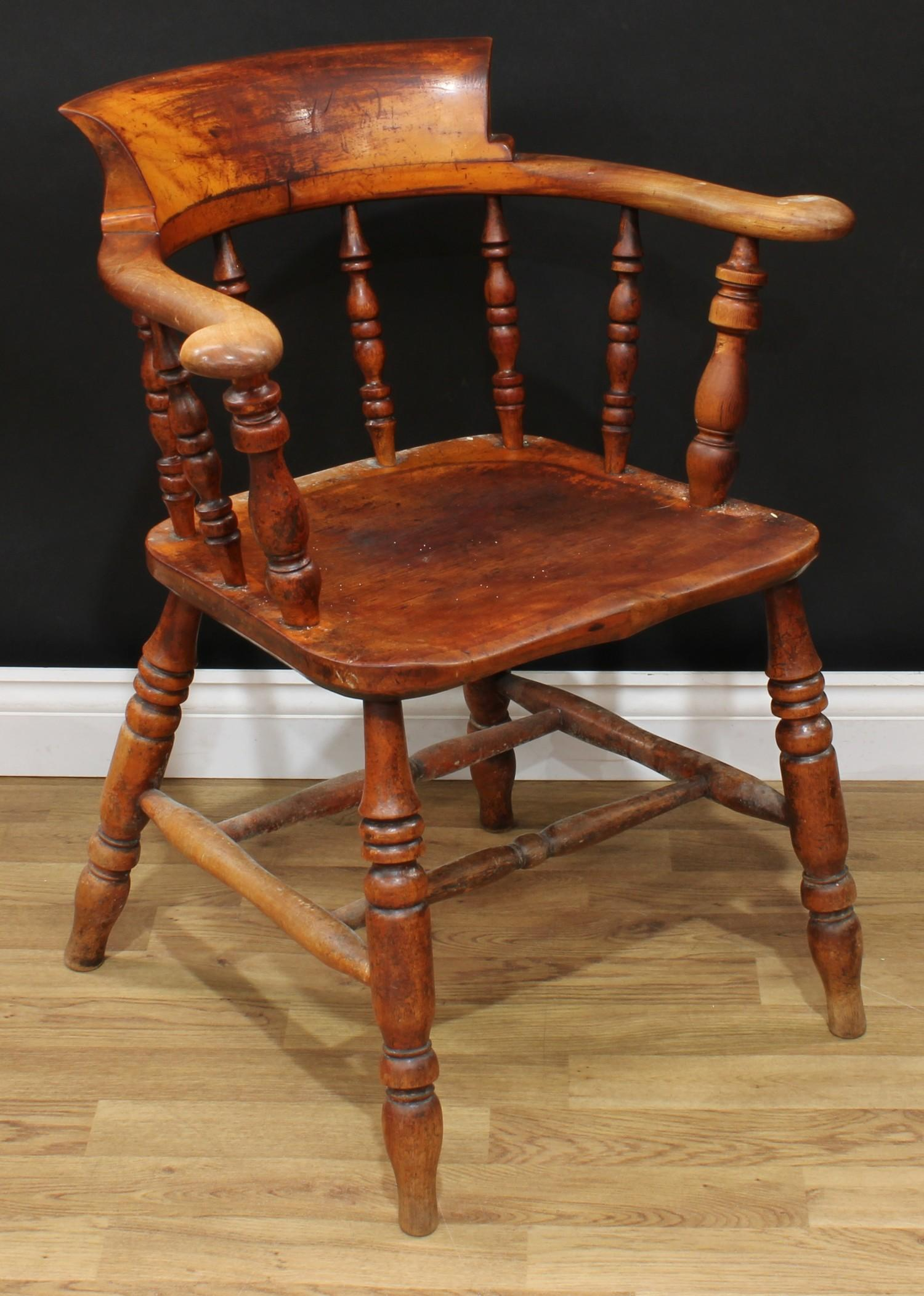 A late Victorian smoker's bow elbow chair, 80cm high, 65cm wide, the seat 38cm wide and 37cm deep; - Image 3 of 7