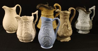 A mid 19th century relief moulded jug, W. Ridgway & Co, Hanley, hinged pewter cover, approx. 22cm