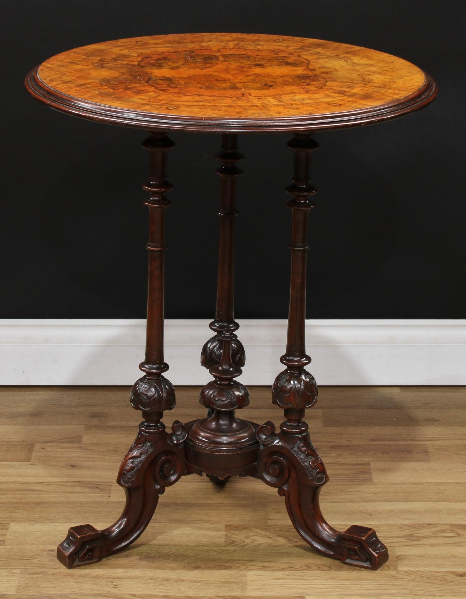 A Victorian walnut and mahogany wine table, quarter-veneered circular top with moulded edge,