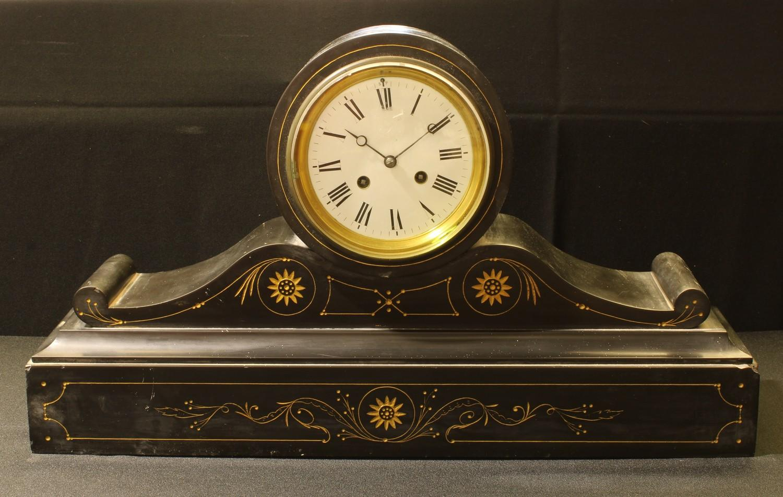 A large 19th century slate drum head mantel clock, 59cm long