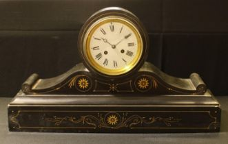 A large 19th century slate drum head mantel clock, 59cm long