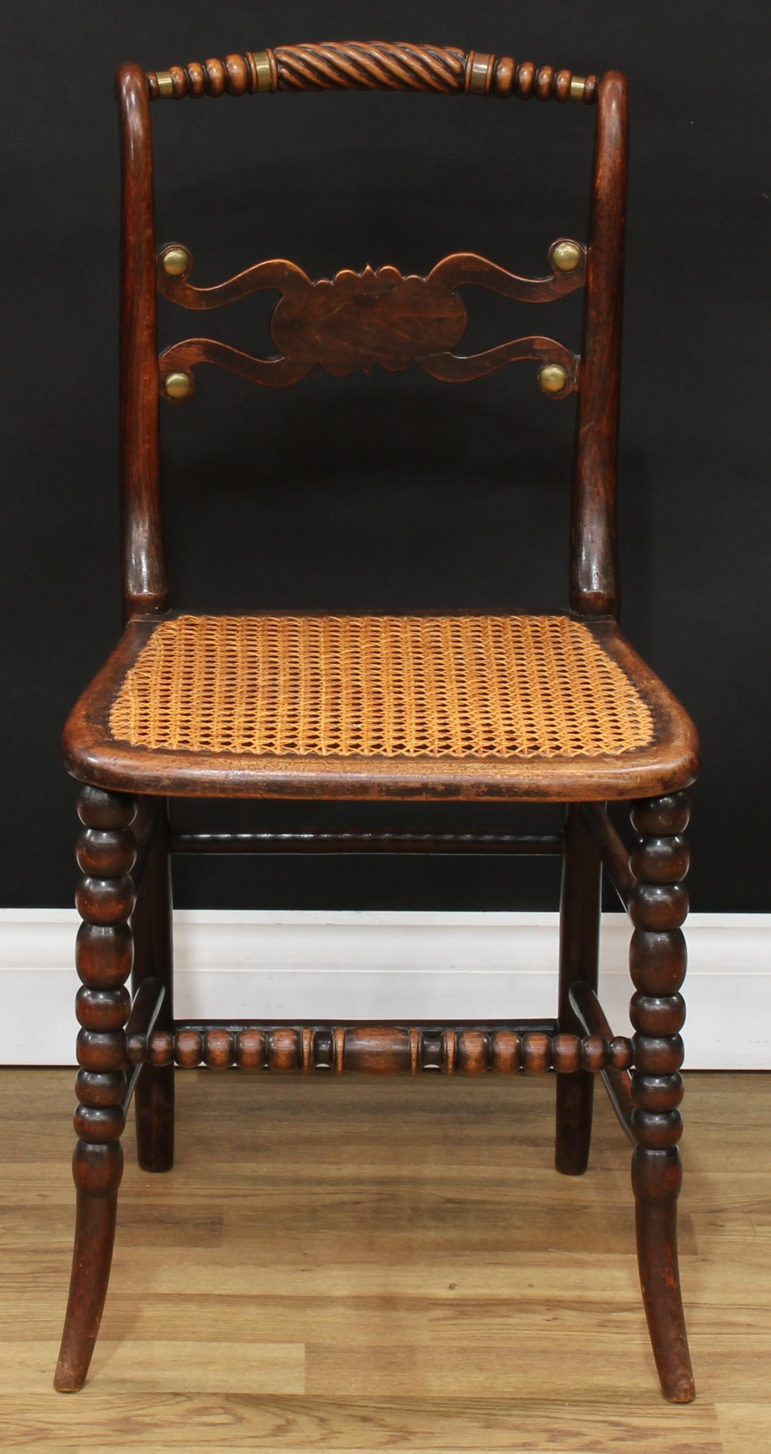 A set of four Regency brass mounted mahogany side chairs, each with a bobbin-flanked rope twist - Image 3 of 4