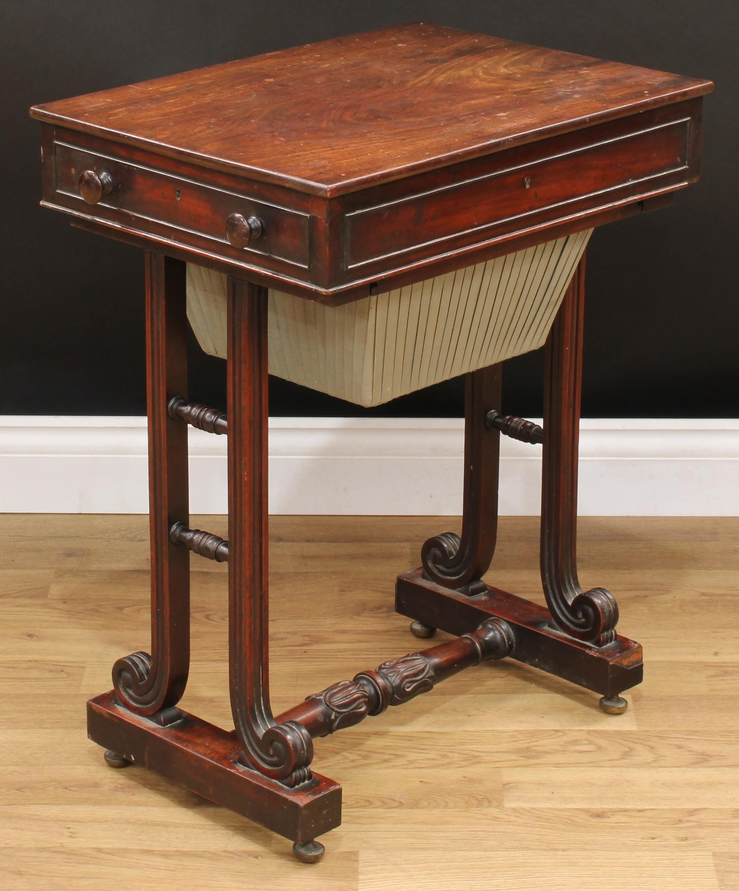 A William IV mahogany work table, rectangular top above a frieze drawer and a sarcophagus shaped - Image 5 of 7