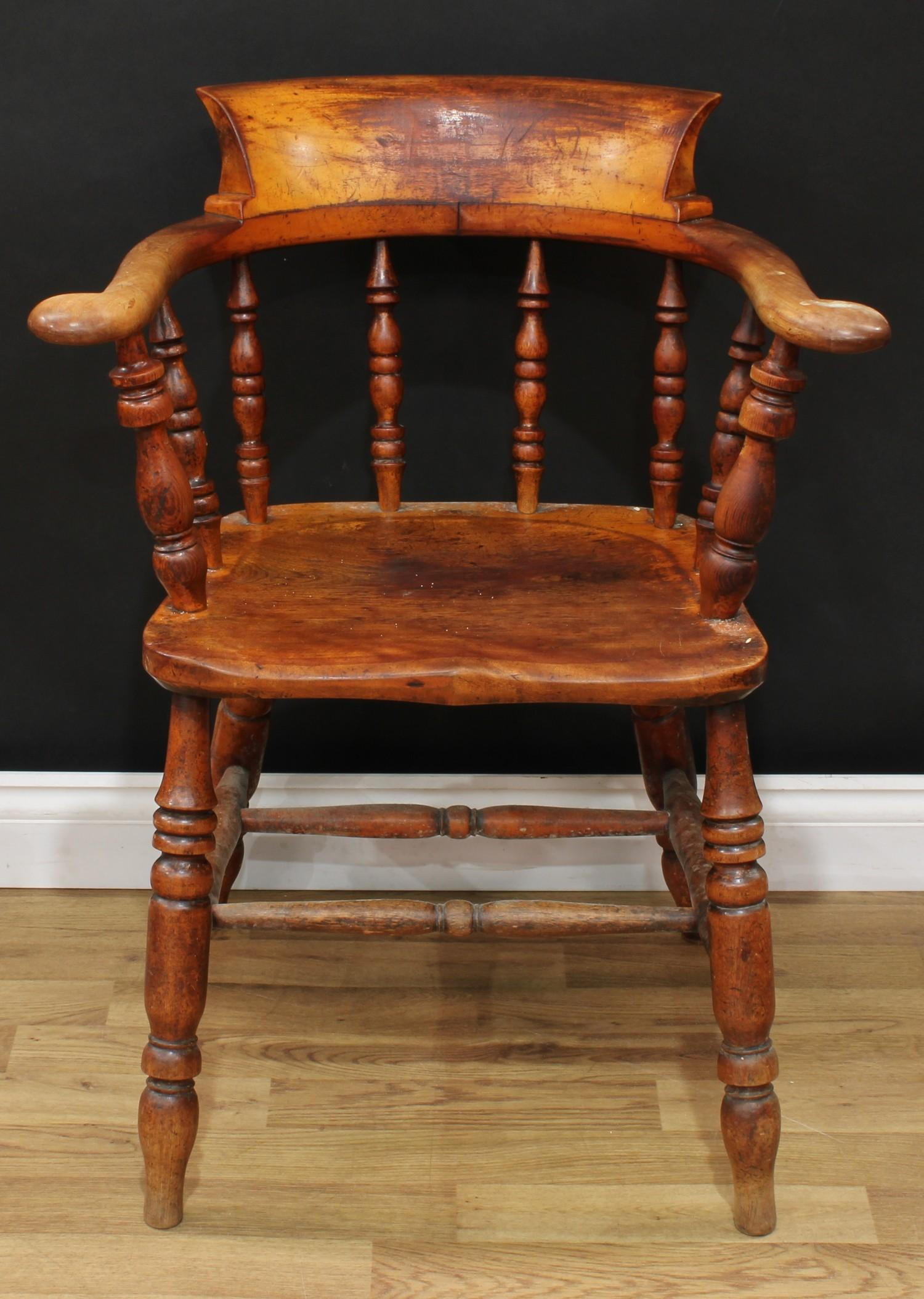 A late Victorian smoker's bow elbow chair, 80cm high, 65cm wide, the seat 38cm wide and 37cm deep; - Image 2 of 7